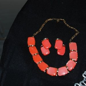 Lisner Marked Coral Color Choker and Earring Set